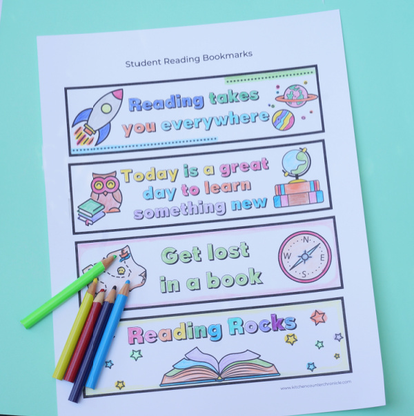 printout of back to school coloring bookmark for students