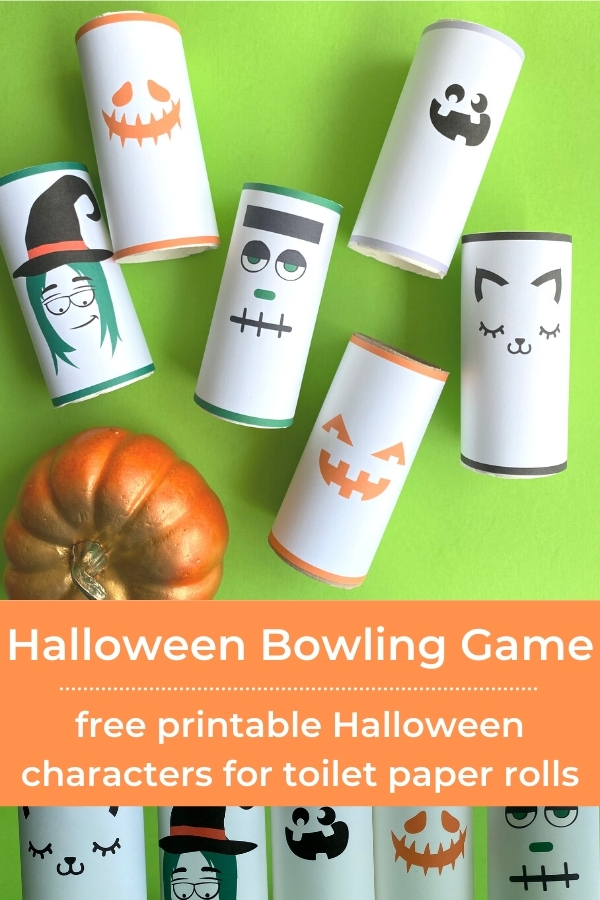 Halloween pumpking bowling with toilet paper rolls with title