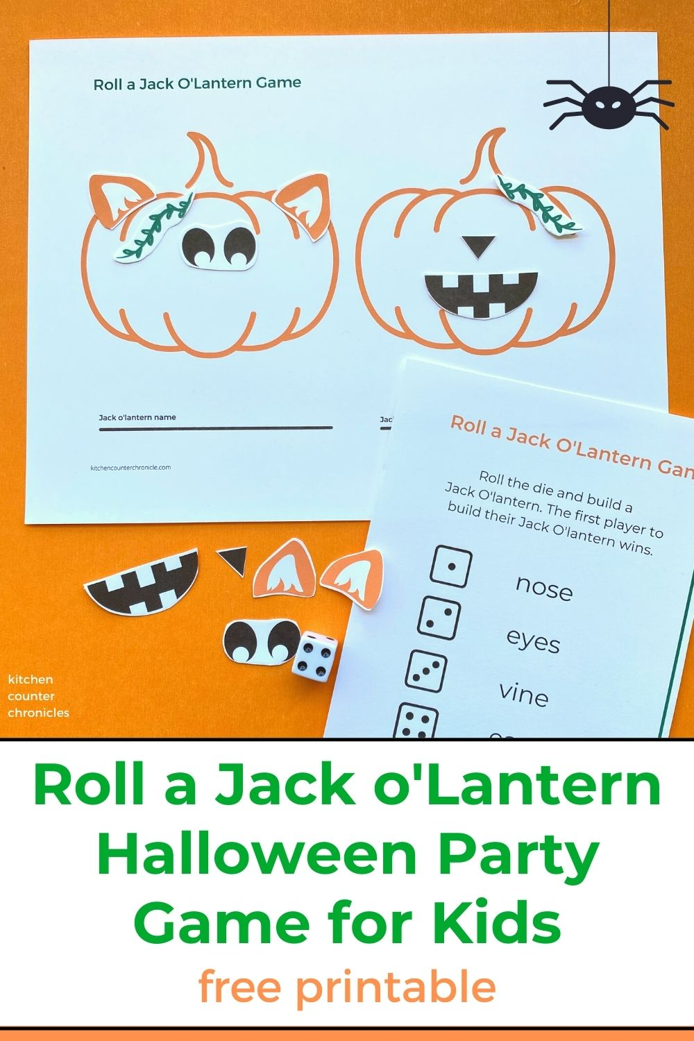 roll a jack olantern game halloween game for kids printed on paper with title