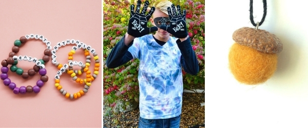 fall crafts for older kids fall friendship bracelets, spider web tshirt and felted acorn necklace