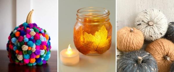 fall crafts for older kids pom pom pumpkin, leaf mason jar lantern, wool pumpkins