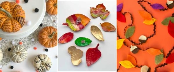 fall crafts for tweens doodle pumpkins, leaf dish, felt leaf garland