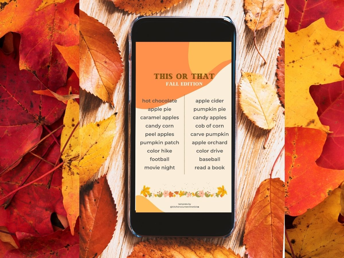 fall this or that edition instagram template on cell phone in pile of leaves