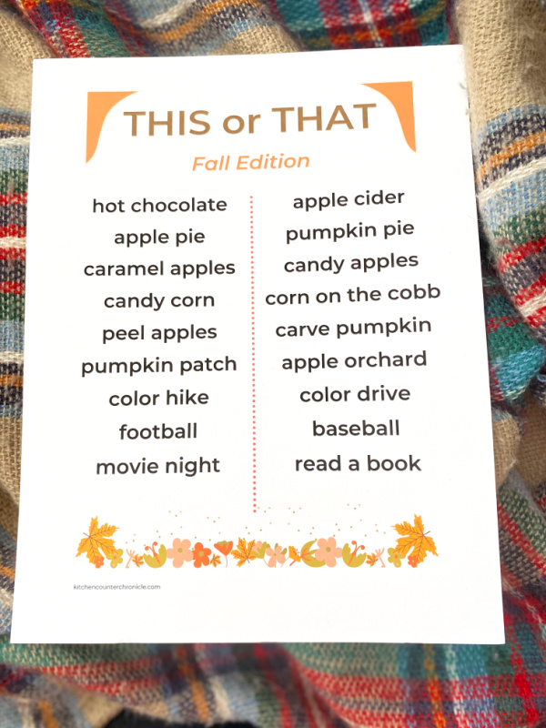 fall this or that questions printed on paper