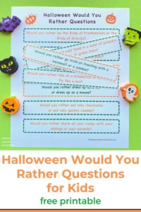halloween would you rather questions for kids printed on paper with halloween characters