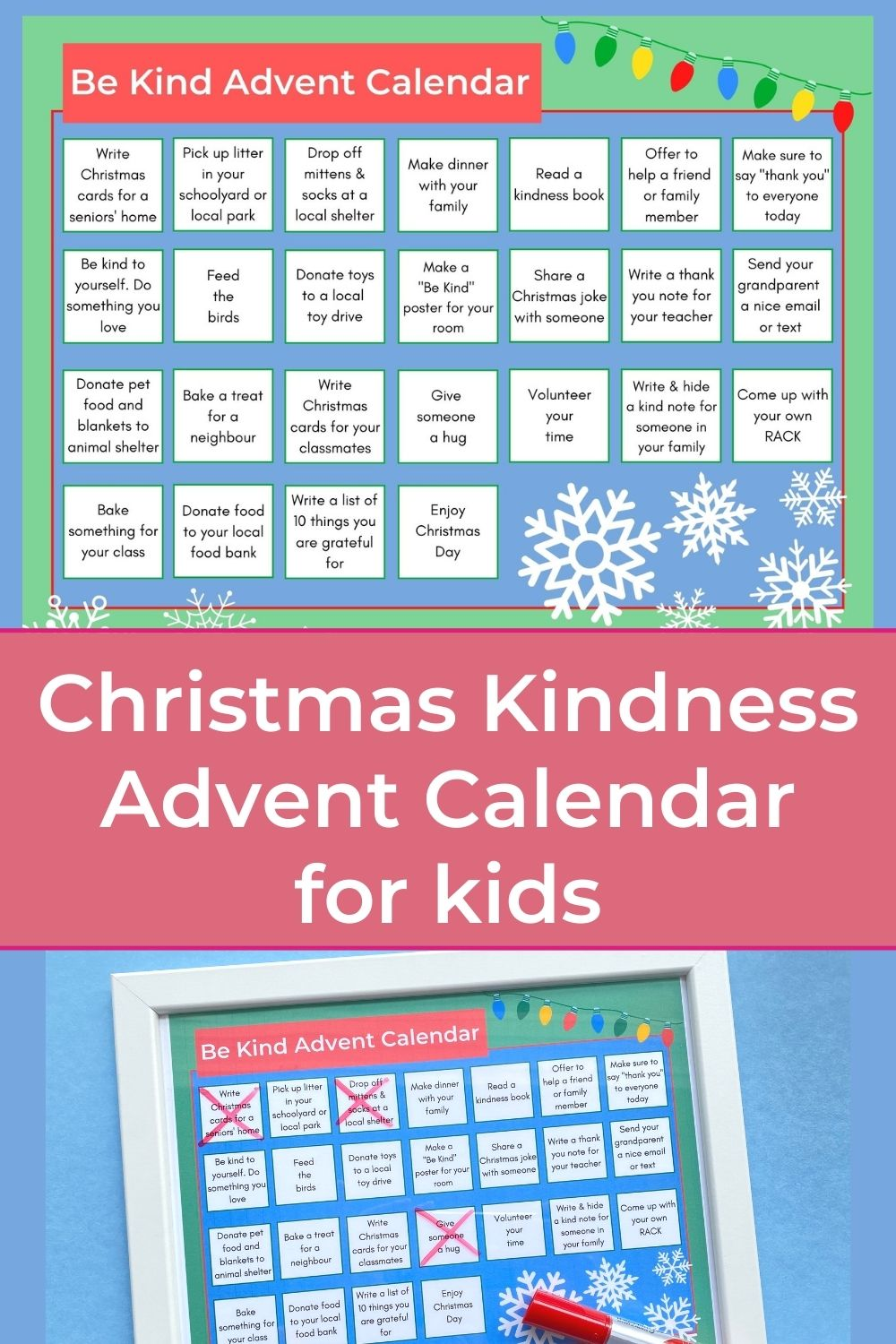 printable be kind advent calendar for kids with title and printed advent calendar