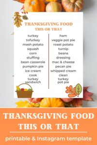 thanksgiving this or that printable and instagram template pin image