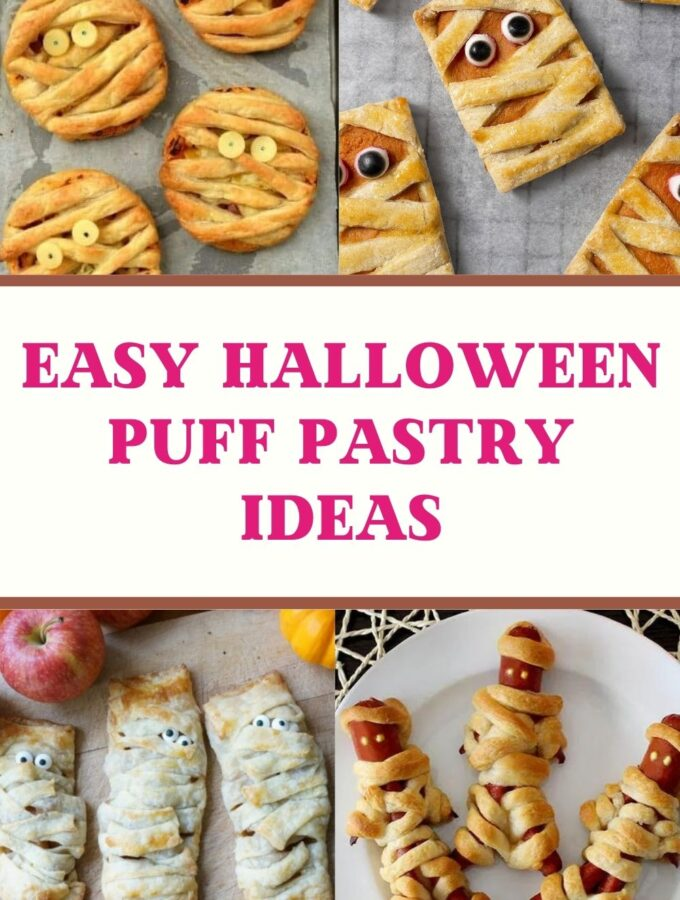 easy halloween with puff pastry recipes collage of puff pastry pizzas, pumpkin hand pies, apple turnover mummies and puff pastry hot dogs
